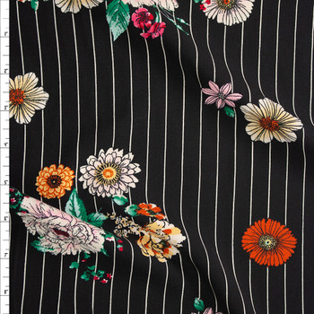 Sketchbook Floral on White on Black Vertical Pinstripe Rayon Challis Fabric By The Yard