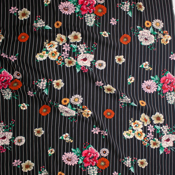 Sketchbook Floral on White on Black Vertical Pinstripe Rayon Challis Fabric By The Yard - Wide shot