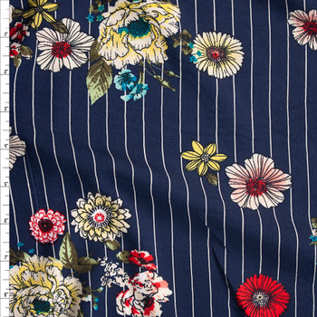 Sketchbook Floral on White on Navy Vertical Pinstripe Rayon Challis Fabric By The Yard