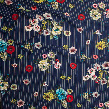 Sketchbook Floral on White on Navy Vertical Pinstripe Rayon Challis Fabric By The Yard - Wide shot