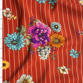 Sketchbook Floral on White on Rust Vertical Pinstripe Rayon Challis Fabric By The Yard