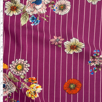 Sketchbook Floral on White on Purple Vertical Pinstripe Rayon Challis Fabric By The Yard