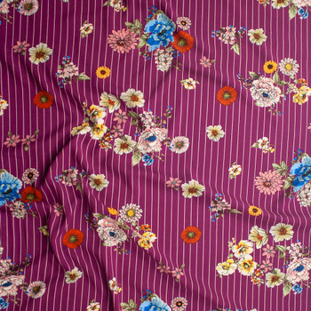 Sketchbook Floral on White on Purple Vertical Pinstripe Rayon Challis Fabric By The Yard - Wide shot