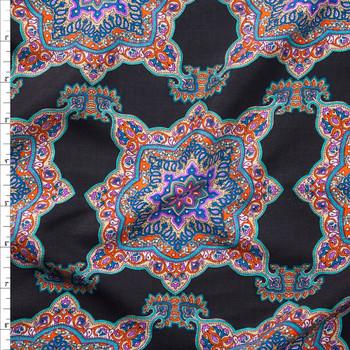 Vibrant Boho Medallions on Black Rayon Challis Rayon Challis Fabric By The Yard