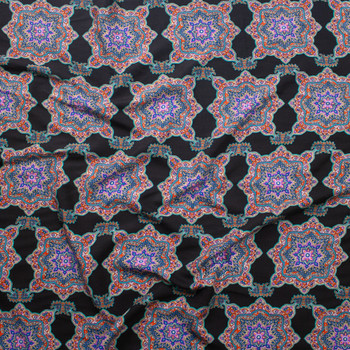 Vibrant Boho Medallions on Black Rayon Challis Rayon Challis Fabric By The Yard - Wide shot