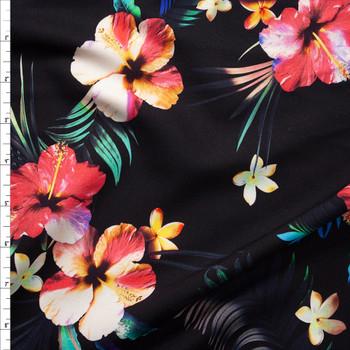 Makaha Nights Black by Robert Kaufman Rayon Challis Fabric By The Yard