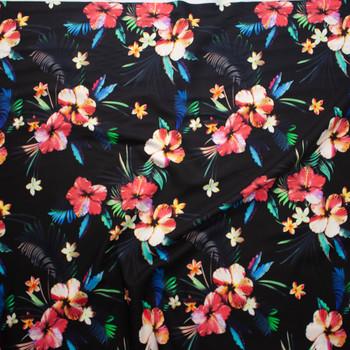 Makaha Nights Black by Robert Kaufman Rayon Challis Fabric By The Yard - Wide shot