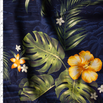 Makaha Nights Navy by Robert Kaufman Rayon Challis Fabric By The Yard