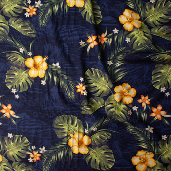 Makaha Nights Navy by Robert Kaufman Rayon Challis Fabric By The Yard - Wide shot