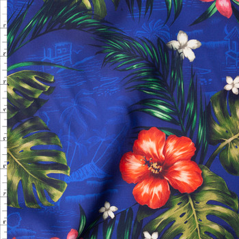 Makaha Nights Royal by Robert Kaufman Rayon Challis Fabric By The Yard