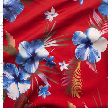 Makaha Nights Red by Robert Kaufman Rayon Challis Fabric By The Yard