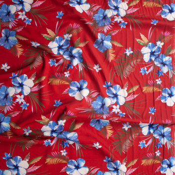 Makaha Nights Red by Robert Kaufman Rayon Challis Fabric By The Yard - Wide shot