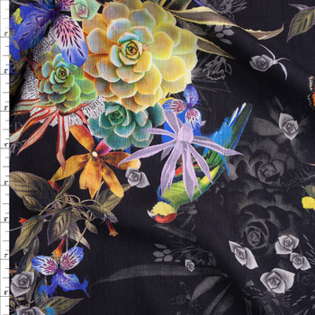 Kyoto Rayon Yoryu Black Lightweight Rayon Gauze Fabric By The Yard