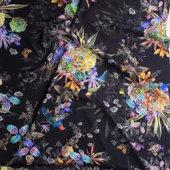 Kyoto Rayon Yoryu Black Lightweight Rayon Gauze Fabric By The Yard - Wide shot