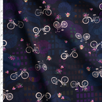 Happy Place Bikes Midnight Cotton/Spandex Jersey Fabric By The Yard