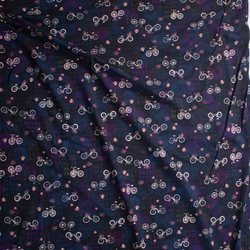 Happy Place Bikes Midnight Cotton/Spandex Jersey Fabric By The Yard - Wide shot