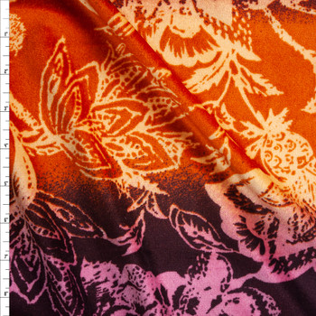 Retro Floral on Wine, Plum, and Rust Ombre Horizontal Stripe Velour Fabric By The Yard