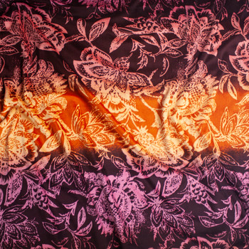 Retro Floral on Wine, Plum, and Rust Ombre Horizontal Stripe Velour Fabric By The Yard - Wide shot