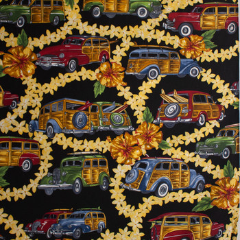 Leis and Station Wagons Quilter's Cotton Print Fabric By The Yard - Wide shot