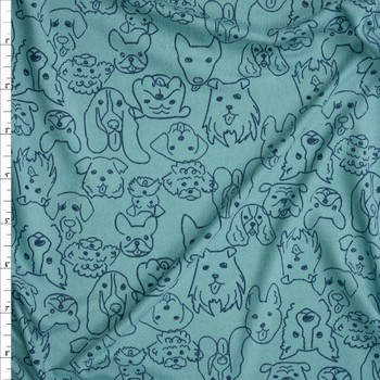 Sketchbook Pooches Navy on Seafoam Green Double Brushed Poly/Spandex Fabric By The Yard