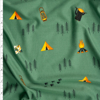 Campfires and Gear on Sage Double Brushed Poly/Spandex Fabric By The Yard