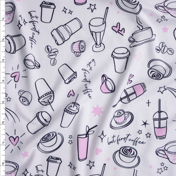 But First Coffee Double Brushed Poly/Spandex Fabric By The Yard