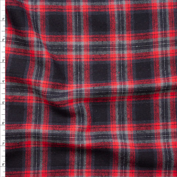 Red, Black, and Grey Plaid Cotton Flannel Fabric By The Yard