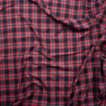 Red, Black, and Grey Plaid Cotton Flannel Fabric By The Yard - Wide shot