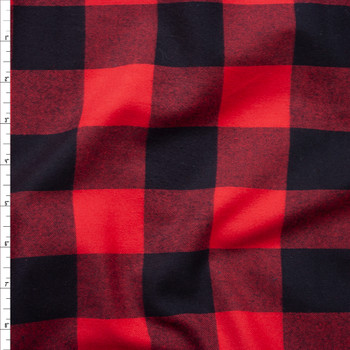 Red and Black Buffalo Plaid Cotton Flannel Fabric By The Yard