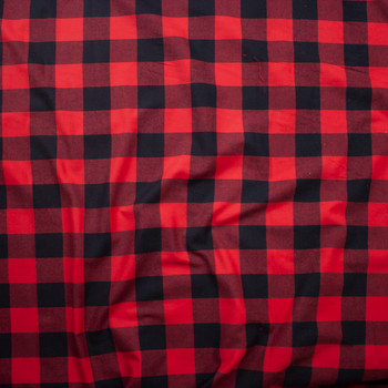 Red and Black Buffalo Plaid Cotton Flannel Fabric By The Yard - Wide shot