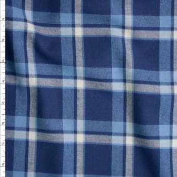 Navy, White, and Light Blue Plaid Cotton Flannel Fabric By The Yard
