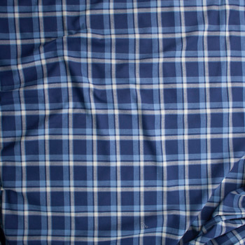 Navy, White, and Light Blue Plaid Cotton Flannel Fabric By The Yard - Wide shot