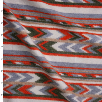 Orange, Olive, Grey, and Ivory Southwestern Stripe Brushed Sweater Knit Fabric By The Yard