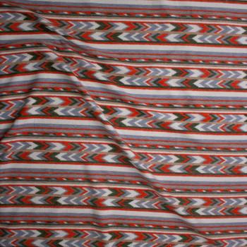 Orange, Olive, Grey, and Ivory Southwestern Stripe Brushed Sweater Knit Fabric By The Yard - Wide shot