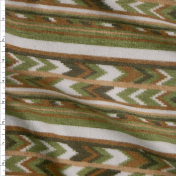 Olive, Tan, and Ivory Southwestern Stripe Brushed Sweater Knit Fabric By The Yard