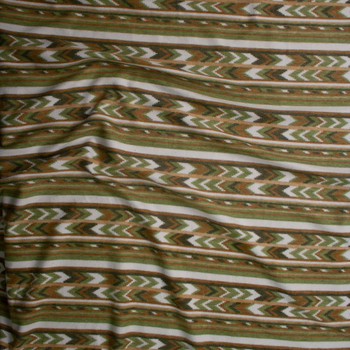 Olive, Tan, and Ivory Southwestern Stripe Brushed Sweater Knit Fabric By The Yard - Wide shot