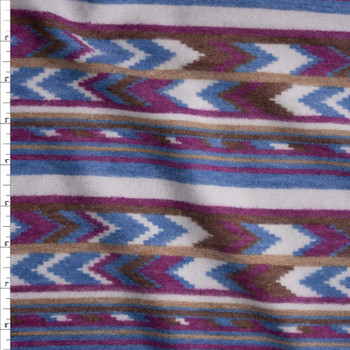 Plum, Brown, Tan, and Blue Southwestern Stripe Brushed Sweater Knit Fabric By The Yard