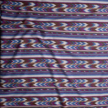 Plum, Brown, Tan, and Blue Southwestern Stripe Brushed Sweater Knit Fabric By The Yard - Wide shot