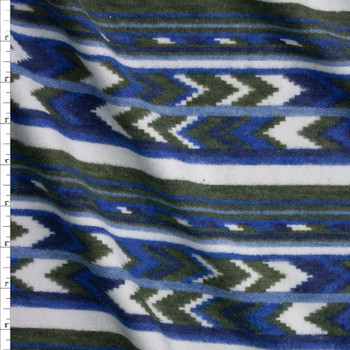 Olive, White, and Blue Southwestern Stripe Brushed Sweater Knit Fabric By The Yard