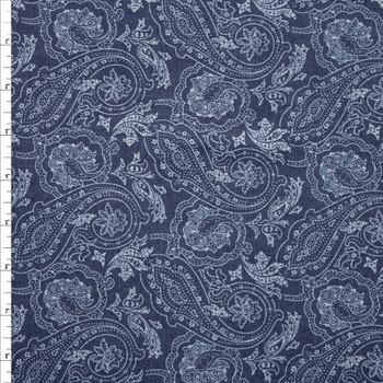 Paisley Print on Indigo Cotton Chambray Fabric By The Yard