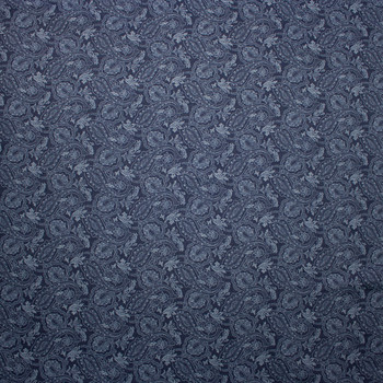 Paisley Print on Indigo Cotton Chambray Fabric By The Yard - Wide shot