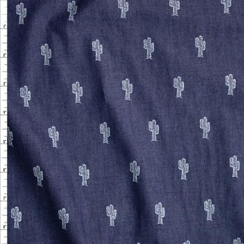 Cactus Print on Indigo Cotton Chambray Fabric By The Yard