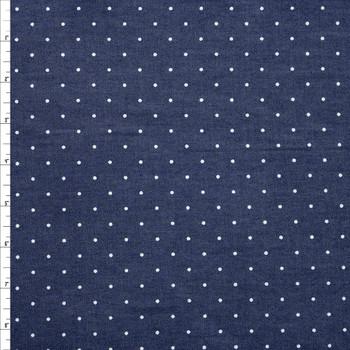 White Pin Dot on Indigo Cotton Chambray Fabric By The Yard