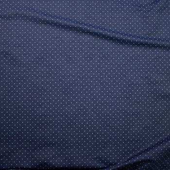 White Pin Dot on Indigo Cotton Chambray Fabric By The Yard - Wide shot