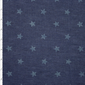 Stars on Indigo Cotton Chambray Fabric By The Yard