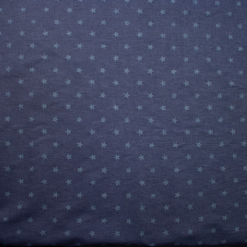 Stars on Indigo Cotton Chambray Fabric By The Yard - Wide shot