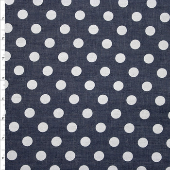 White Polka Dots on Grey Cotton Chambray Fabric By The Yard
