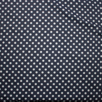 White Polka Dots on Grey Cotton Chambray Fabric By The Yard - Wide shot