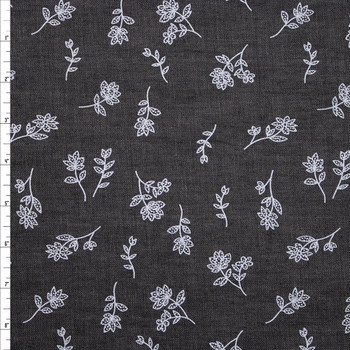 White Floral on Grey Cotton Chambray Fabric By The Yard