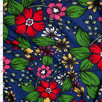Red, Green, and Yellow Floral on Navy Stretch Rayon Jersey Fabric By The Yard